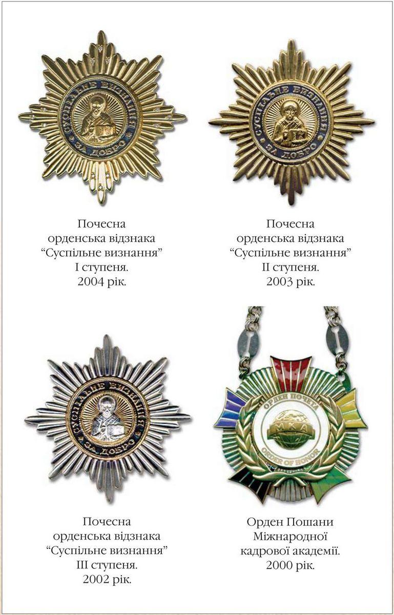 Badge of Honour Public Recognition, 1st class 2004  Badge of Honour Public Recognition, 2nd class 2003   Badge of Honour Public Recognition, 3rd class 2002  The Order of Honour of International Personnel Academy 2000