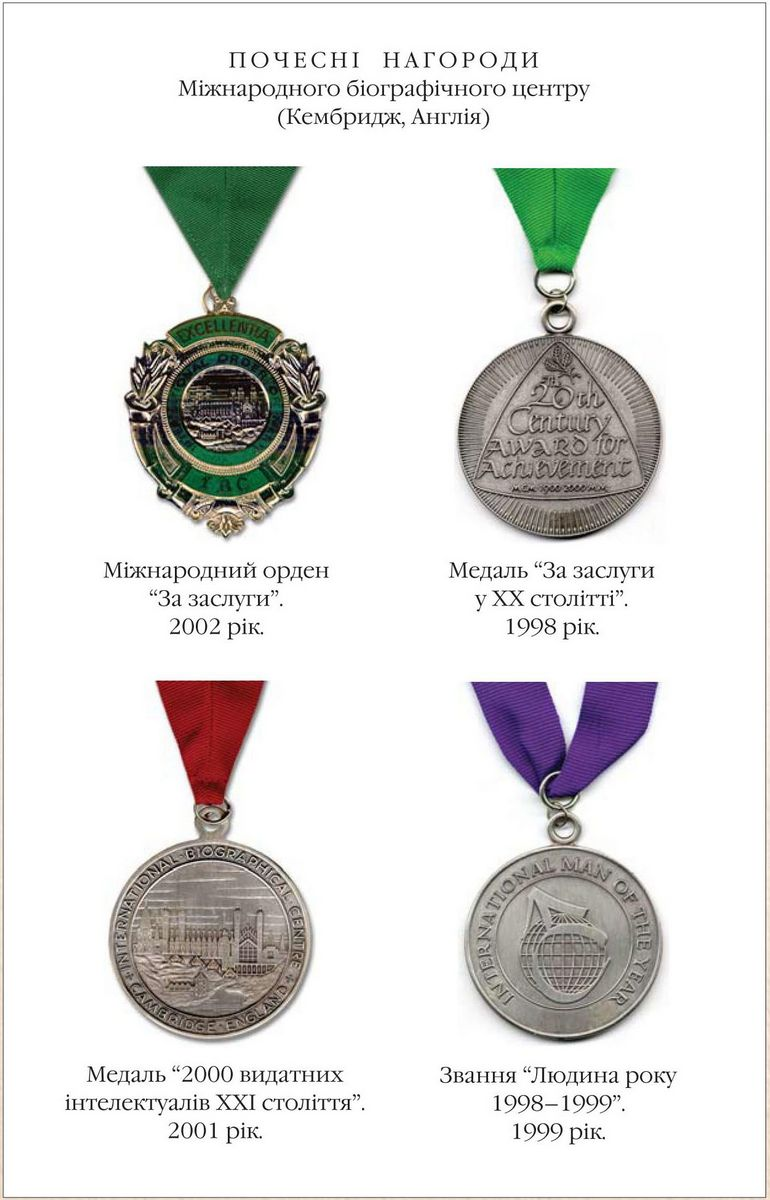The International Order For Merits 2002  Medal For Merits in XX century 1998  Medal 2000 Famous Intellectuals of XX century 2001    The title Man of the Year 1998-1999  1999